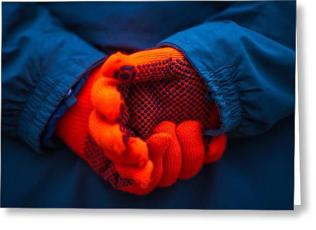 Red Gloves - Featured 3 Greeting Card by Alexander Senin