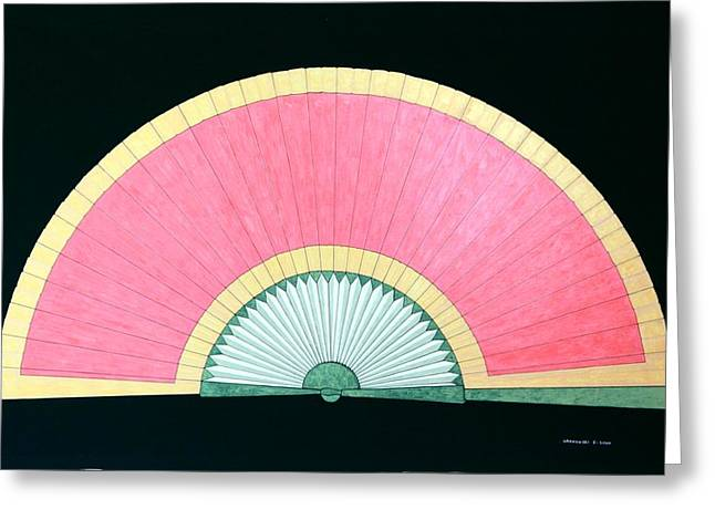 Red Gold Fan Greeting Card