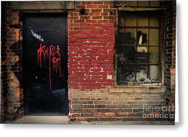 Red Graffiti On Door Greeting Card by Amy Cicconi