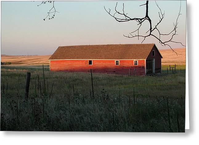 Red Granary Barn Greeting Card