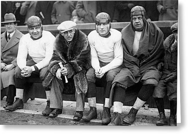 Red Grange On Bears Bench Greeting Card by Underwood Archives