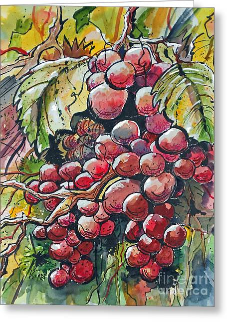 Greeting Card featuring the painting Red Grapes by Terry Banderas