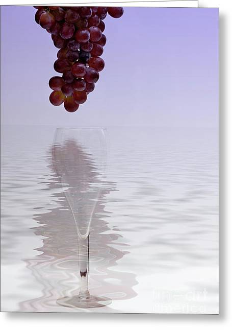 Red Grapes Wine Glass Fantasy Greeting Card