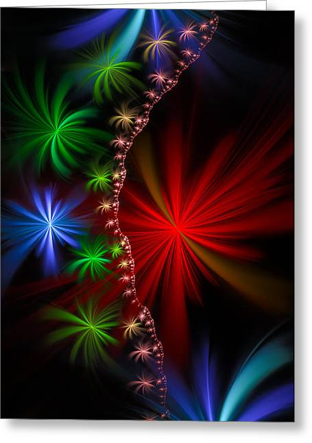 Red Green And Blue Fractal Stars Greeting Card by Matthias Hauser
