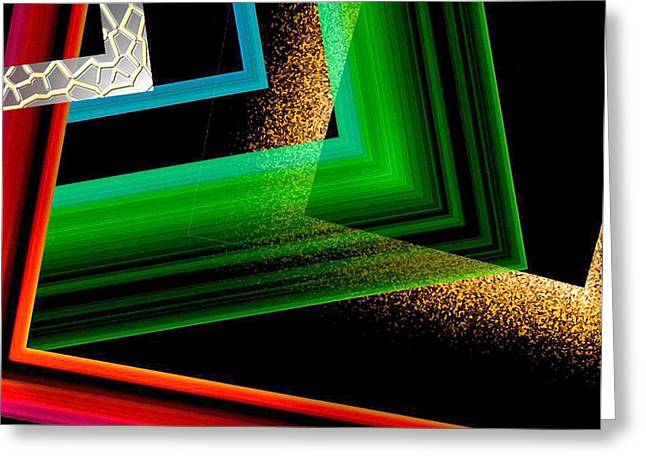 Red Green And Brown Abstract Art Greeting Card by Mario Perez