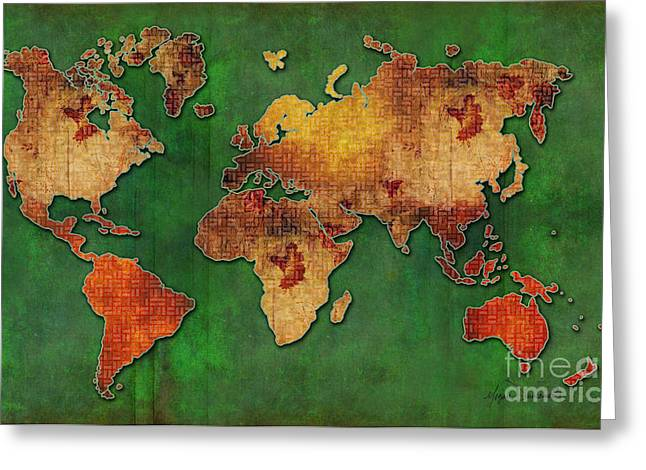 Red Green Floral Grunge Style World Map Pop Art Maps By Megan Duncanson Greeting Card by Megan Duncanson