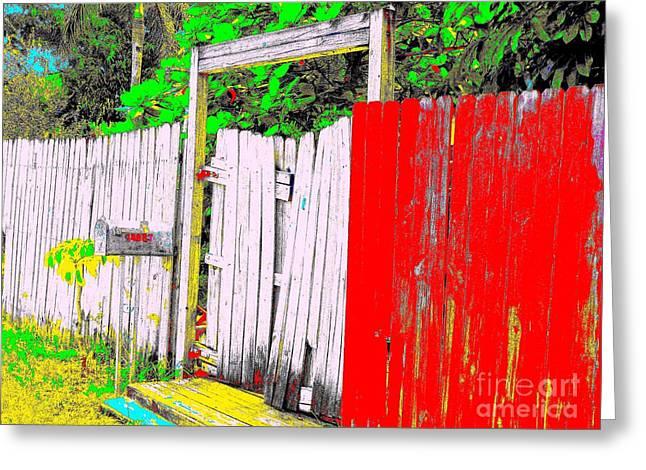 Red Grey Gate 0552 14 Greeting Card