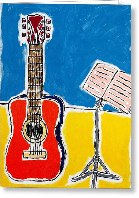 Red Guitar 1 Greeting Card