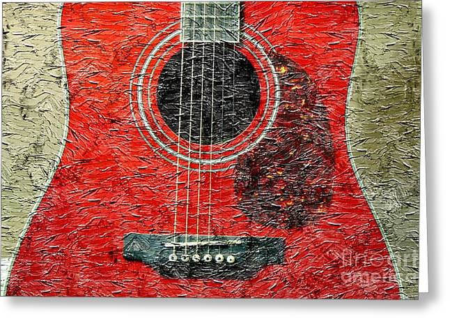 Red Guitar Center - Digital Painting - Music Greeting Card by Barbara Griffin