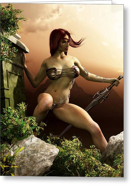 Red Haired Barbarian Woman Greeting Card