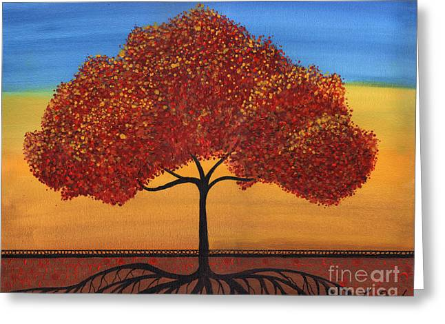 Red Happy Tree Greeting Card