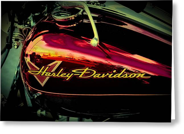 Red Harley-davidson II Greeting Card by David Patterson