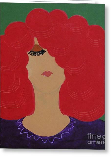 Greeting Card featuring the painting Red Head by Anita Lewis