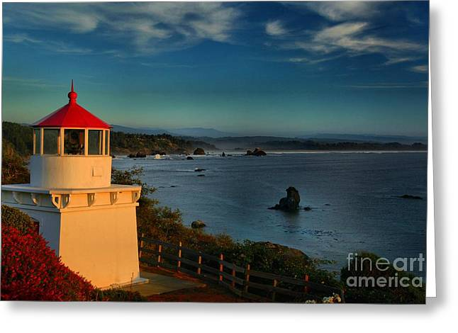 Red Head Light Greeting Card by Adam Jewell