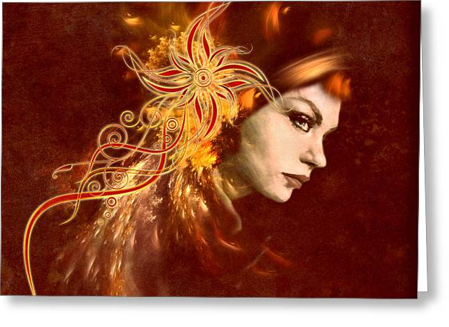 Red Headed Woman Abstract Realism Greeting Card by Georgiana Romanovna