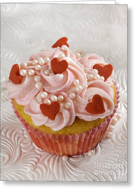 Red Heart Cupcakes  Greeting Card by Iris Richardson