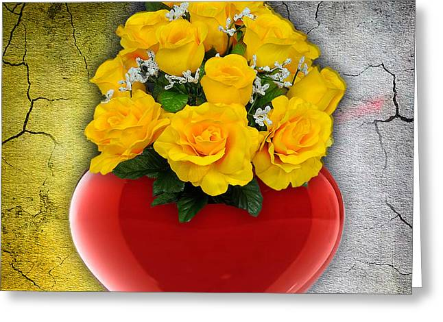 Red Heart Vase With Yellow Roses Greeting Card
