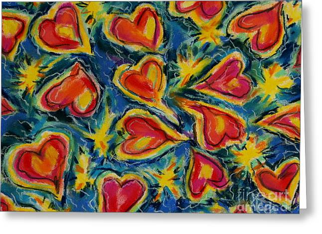 Red Hearts Dancing Greeting Card by Kelly Athena
