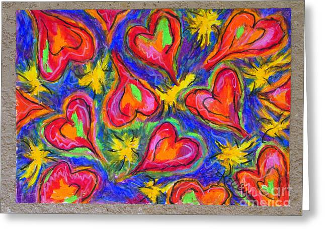Red Hearts Greeting Card by Kelly Athena