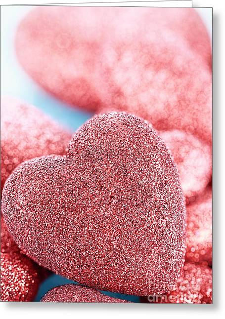 Red Hearts Greeting Card by Stephanie Frey