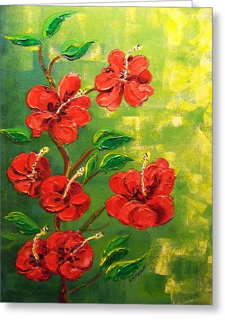 Red Hibiscus 2 Greeting Card by Rich Mason