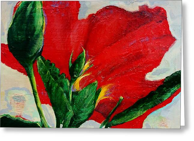 Red Hibiscus Greeting Card by Jean Cormier
