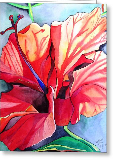 Red Hibiscus Tropical Flower Greeting Card by Sacha Grossel