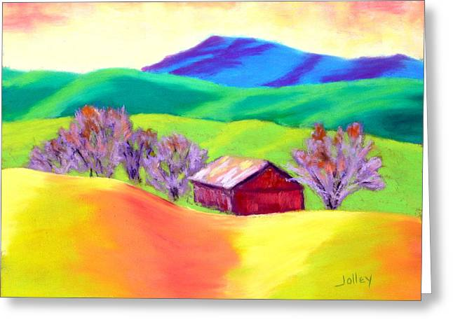 Greeting Card featuring the painting Red Hill Barn by Nancy Jolley