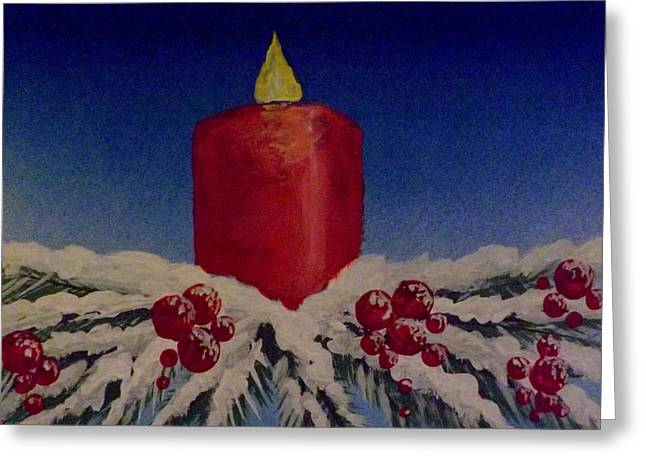 Red Holiday Candle Greeting Card by Darren Robinson