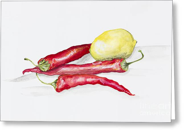 Red Hot Chili Peppers And Lemone Greeting Card by Irina Gromovaja