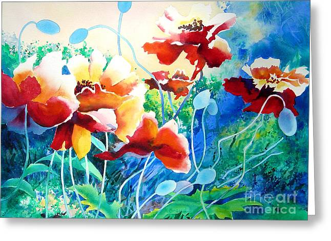 Red Hot Cool Blue Greeting Card by Kathy Braud