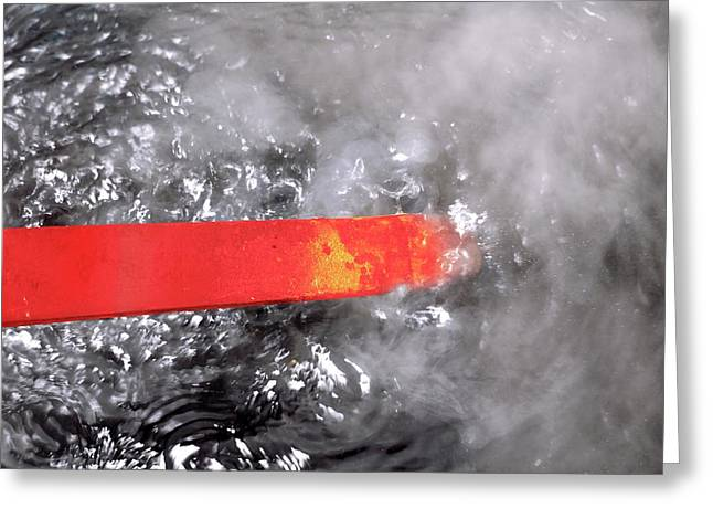 Red-hot Metal Being Quenched In Water Greeting Card by Victor De Schwanberg