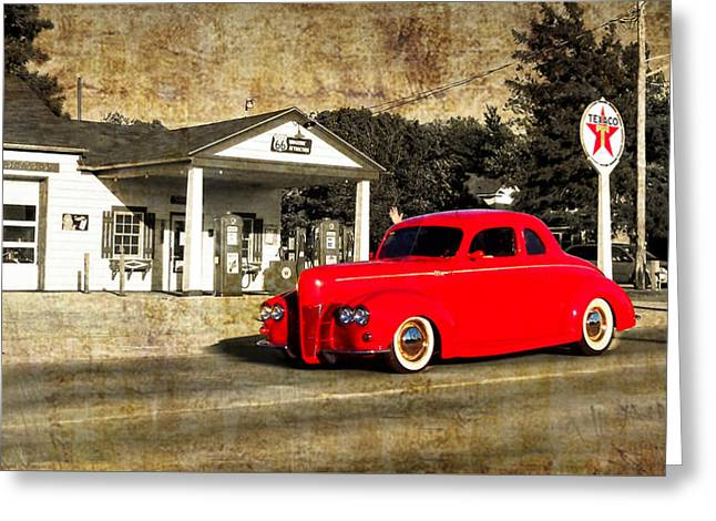 Red Hot Rod Cruising Route 66 Greeting Card by Thomas Woolworth