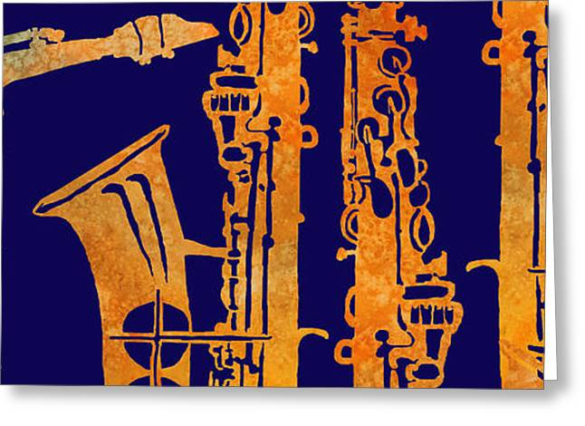 Red Hot Sax Keys Greeting Card by Jenny Armitage