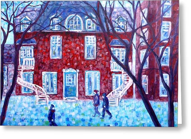 Red House In Montreal - Cityscape Greeting Card