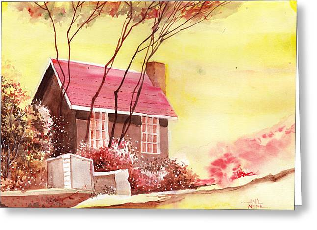 Red House R Greeting Card by Anil Nene