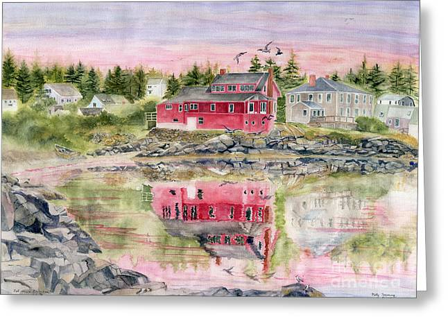 Red House Reflection Greeting Card by Melly Terpening