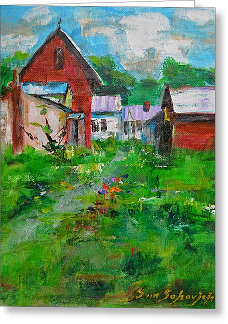 Red House Greeting Card by Sun Sohovich