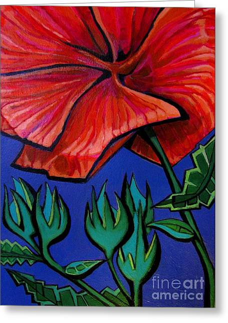 Red Ibiscus - Botanical Greeting Card by Grace Liberator