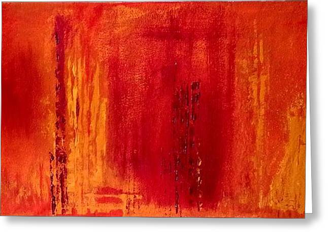 Red Inferno Greeting Card by Jacqueline Schreiber