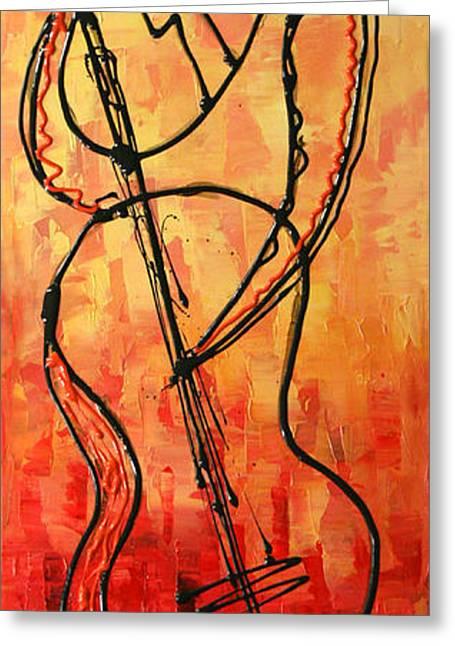 Red Jazz 3 Greeting Card by Leon Zernitsky