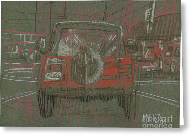 Greeting Card featuring the drawing Red Jeep by Donald Maier