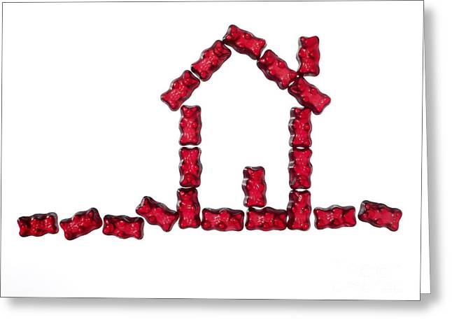 Red Jellybabies Formed As A House Greeting Card by Juergen Ritterbach
