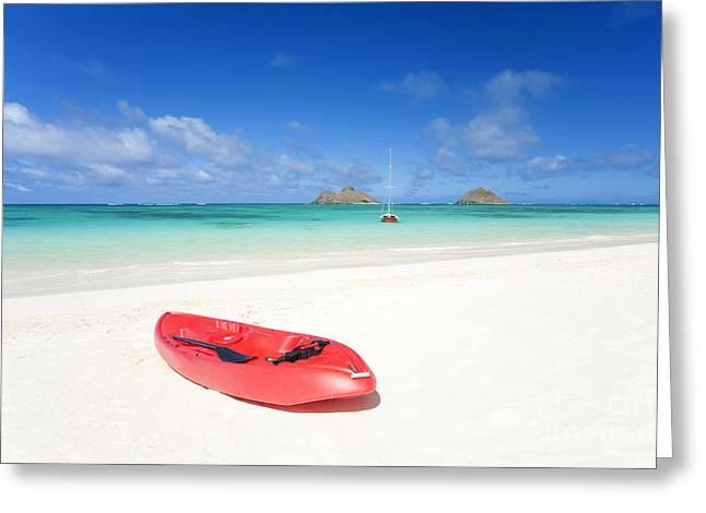 Red Kayak At Lanikai Greeting Card by M Swiet Productions