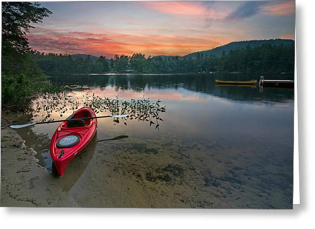 Red Kayak Greeting Card by Darylann Leonard Photography