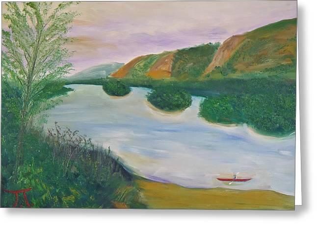 Red Kayak Greeting Card by Troy Thomas