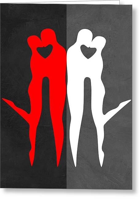 Red Kiss And Reflection  Greeting Card