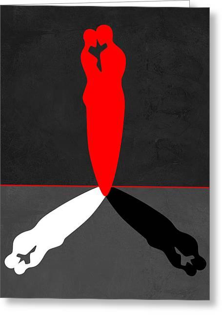 Red Kiss Shadow Greeting Card