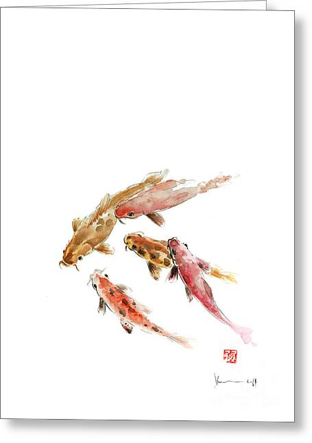 Red Koi Fish Fishes Orange Tangerine Caramel Brown Zodiac Pisces Watercolor Painting Greeting Card
