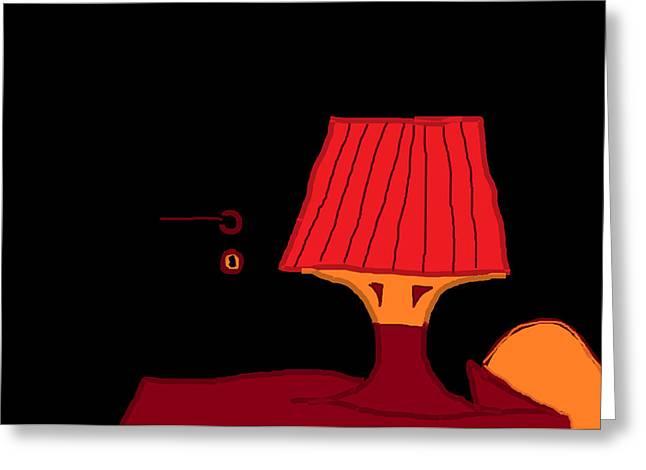 Red Lamp Greeting Card by Anita Dale Livaditis